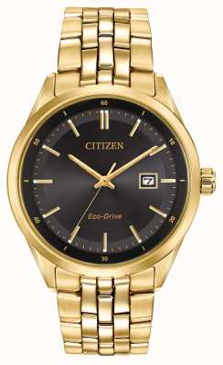Citizen Мужская золото pvd покрытием браслет черный циферблат BM7252-51E