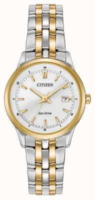 Citizen Женские часы из нержавеющей стали и золота с серебряным циферблатом EW2404-57A