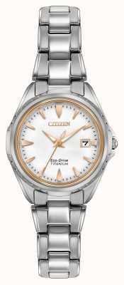 Citizen Белый циферблат браслет из титана EW2410-54A
