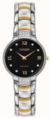 Citizen Жёлтый циферблат с двумя бриллиантами EX1464-54E