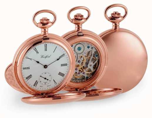 Woodford Двойной охотник розовое золото механические карманные часы 1093