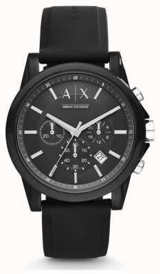Armani Exchange Черный черный силиконовый ремешок черного хронографа AX1326