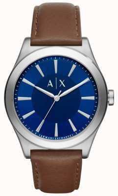 Armani Exchange Мужской коричневый кожаный ремешок синий циферблат из нержавеющей стали AX2324