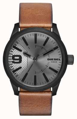 Diesel Мужской коричневый кожаный ремешок серебристый циферблат черный чехол DZ1764