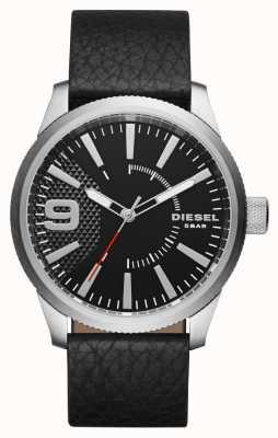 Diesel Мужской черный кожаный ремешок черный циферблат серебряный чехол DZ1766