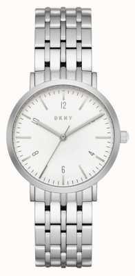 DKNY Женщин из нержавеющей стали серебристый сетчатый ремень круглый белый циферблат NY2502