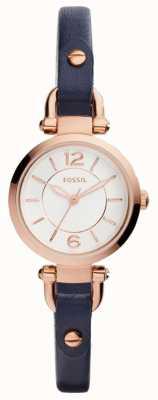 Fossil Женщины тонкий синий кожаный ремешок розовое золото позолоченный чехол ES4026