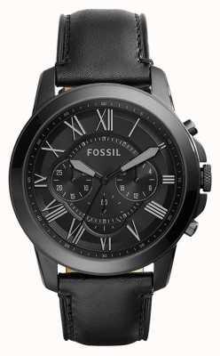 Fossil Черный черный кожаный ремешок черного хронографа FS5132