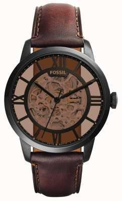 Fossil Мужской темно-коричневый кожаный ремешок круглый коричневый циферблат ME3098