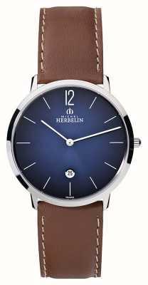 Michel Herbelin Mens ikone grande коричневый кожаный ремешок синий циферблат 19515/15