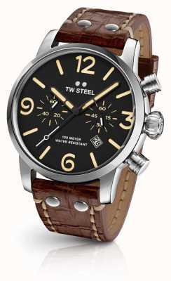 TW Steel Мужская черепаха хронограф коричневый кожаный ремешок черный циферблат MS3
