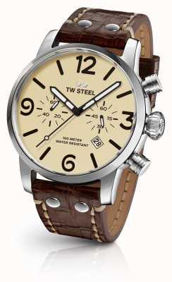 TW Steel Мужская черепаха хронограф коричневый кожаный ремешок набрать циферблат MS23