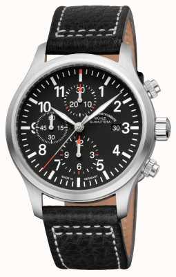 Muhle Glashutte Terrasport i кожаный ремешок с хронографом черный циферблат M1-37-74-LB