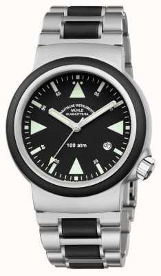 Muhle Glashutte Sar Rescue-Timer, браслет из нержавеющей стали, черный циферблат M1-41-03-MB