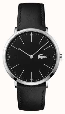 Lacoste Черный черный кожаный ремешок черный циферблат стальной корпус 2010873