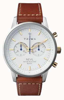 Triwa Мужская снег nevil коричневый кожаный ремешок белый циферблат NEST115-SC010215