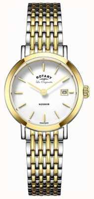 Rotary Женщины виндсерфируют двухцветный серебряный золотой металлический ремешок LB90154/01