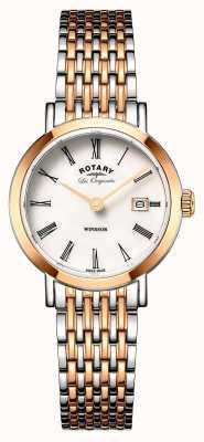 Rotary Женщины виндзор два тона серебро розового золота металлический ремешок LB90155/01