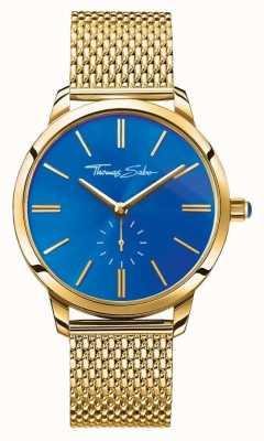 Thomas Sabo Женщины глянцевый дух из нержавеющей стали золотой сетки ремешок синий циферблат WA0274-264-209-33