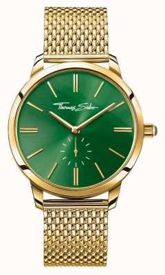 Thomas Sabo Женщин глэм-спирт сталь золотой сетчатый ремешок зеленый циферблат WA0275-264-211-33