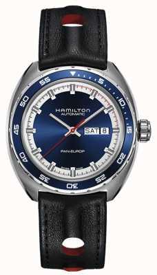 Hamilton Мужская панская европа черный кожаный ремешок синий циферблат H35405741