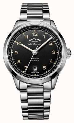 Rotary Мужская традиция автоматический браслет из нержавеющей стали черный циферблат GB90184/19