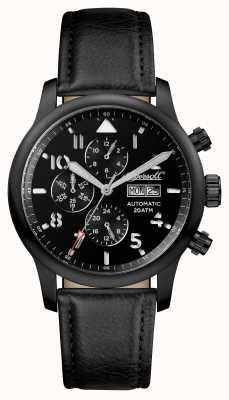 Ingersoll Мужские открытия черный хэттон черный кожаный ремешок черный циферблат I01402