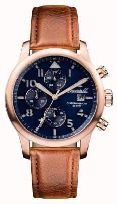 Ingersoll Мужские открытия хэттон коричневый кожаный ремешок синий циферблат I01502