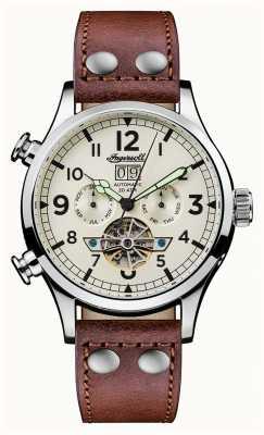 Ingersoll Мужские открытия браслет коричневый кожаный ремешок белый I02101