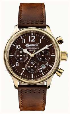 Ingersoll Мужские открытия коричневый кожаный ремешок коричневого цвета I03802