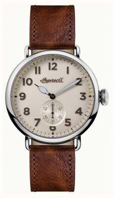 Ingersoll Мужская хроника коричневый кожаный ремень крем I03301