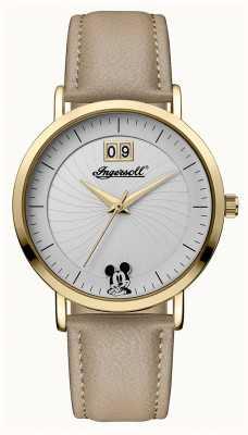 Disney By Ingersoll Женское объединение Disney бежевый кожаный ремешок серебристый циферблат ID00503
