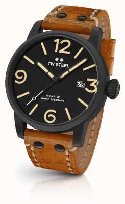 TW Steel Mens maverick черный сэндвич циферблат коричневый кожаный ремешок 45 мм MS31