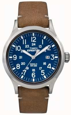 Timex Мужская разведка с синим циферблатом коричневого кожаного ремешка TW4B01800