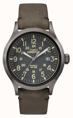 Timex Мужская скаутская черная циферблат серый кожаный ремешок TW4B01700