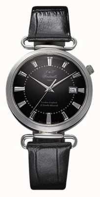 J&T Windmills Мужские триггерные механические часы с черным циферблатом серебристого серебра WGS10005/04