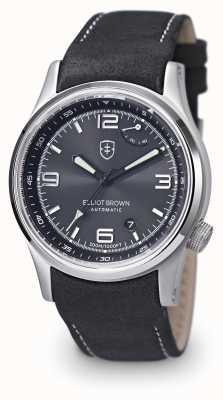 Elliot Brown Мужской черный кожаный ремешок черный циферблат 305-005-L15