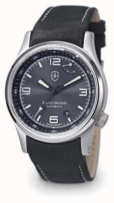 Elliot Brown Mens tyneham серый кожаный черный циферблат с обратной связью 305-D05-L15