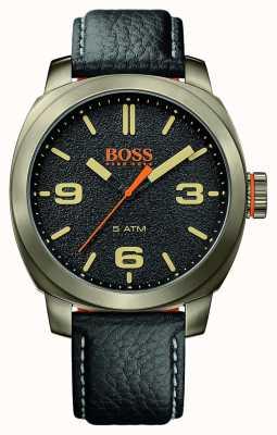 Hugo Boss Orange Mens cape город черный кожаный ремешок золотой тон чехол черный циферблат 1513409