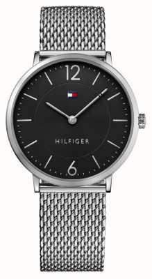 Tommy Hilfiger Mens james нержавеющая сталь сетчатый браслет черный циферблат 1710355