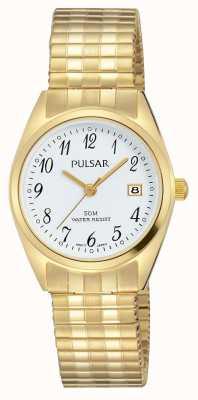 Pulsar Белый циферблат из нержавеющей стали белого золота PH7444X1