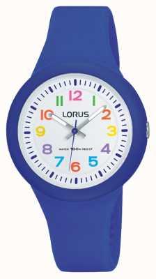 Lorus Юнисовый синий резиновый ремешок белый циферблат RRX45EX9