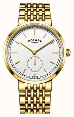 Rotary Mens canterbury золотой тон из нержавеющей стали белый циферблат GB05062/02