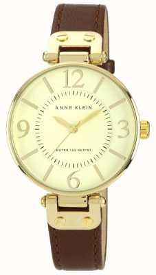 Anne Klein Женская коричневая кожаный ремешок на золотом 10/N9168IVBN