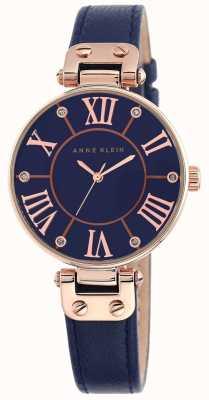 Anne Klein Женская синяя кожаный ремешок синий циферблат 10/N9918RGNV