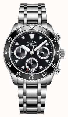 Rotary Mens les originales нержавеющая сталь черный циферблат GB90170/04