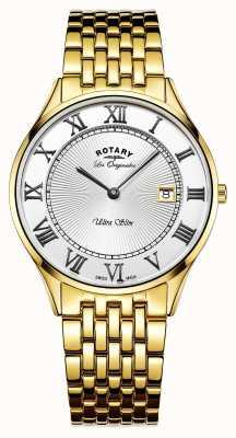 Rotary Мужская ультратонкая золотая тонка из нержавеющей стали белого циферблата GB90803/01