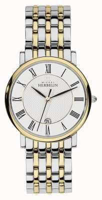 Michel Herbelin Mens two tone серебряный ремень из нержавеющей стали 12543/BT01