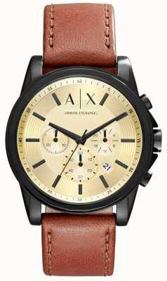 Armani Exchange Мужской хронограф коричневый кожаный ремешок AX2511