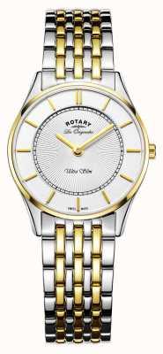 Rotary Женские ультратонкие часы | двухцветный ремешок из нержавеющей стали / пвд | LB90801/41